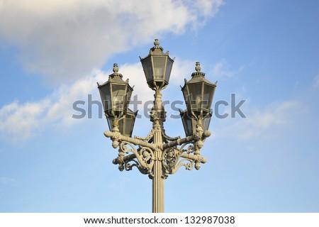 Street lantern in center of St.Petersburg, Russia. - stock photo