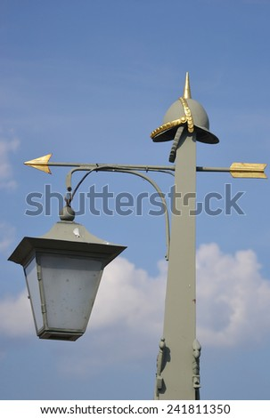 Street lantern on Ioannovsky Bridge, St.Petersburg, Russia. - stock photo