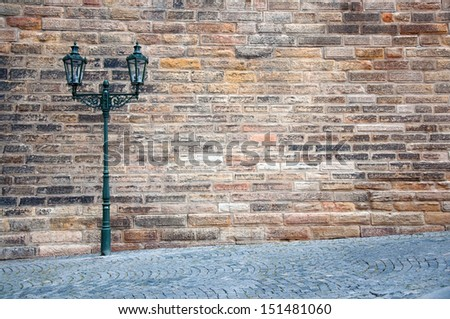 Street lantern on the streets of Prague - stock photo