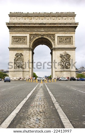 Street level view of Arc de Triomphe from Avenue des Champs-Elysees - stock photo