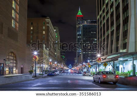 street level view of modern city of Raleigh, North Carolina at night