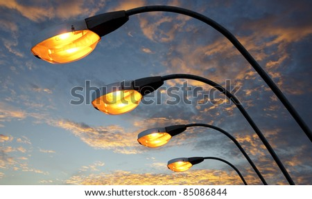 Street light against twilight background