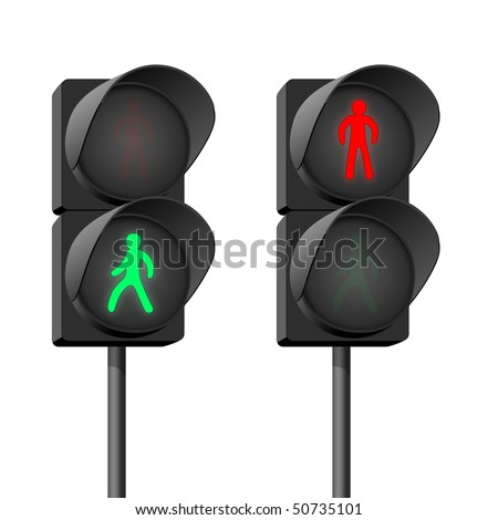Street light at a pedestrian crossing. - stock photo
