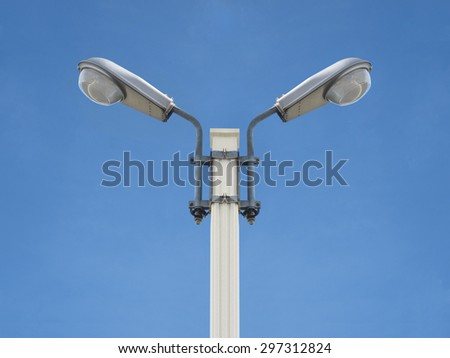 street light electricity front view isolated with blue sky - stock photo