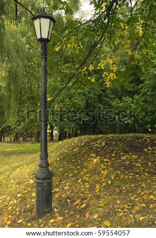 Street light in front of trees with a colorful fall foliage. - stock photo