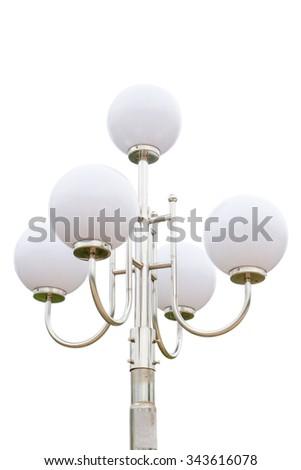Street light lamp post isolated on white background - stock photo