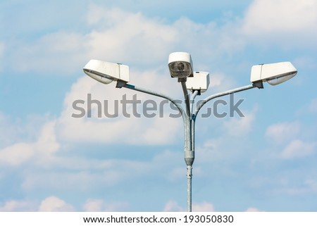 Street Light On Blue Sky With White Clouds - stock photo