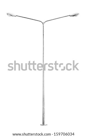 Street light pole isolated on white background,with clipping path  - stock photo