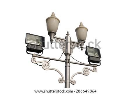 street light pole on white background - stock photo