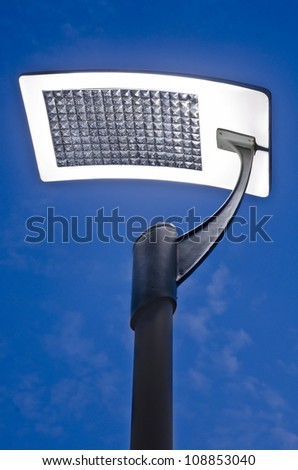 street light with solar panel - stock photo