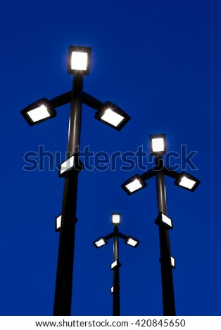 street lights in the night sky, Bangkok - stock photo