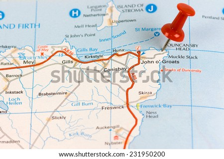 Street Map of  John O' Groats  with red pin - stock photo