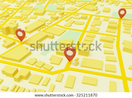 Street Map with GPS Icons - stock photo