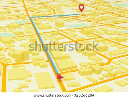 Street Map with GPS Icons