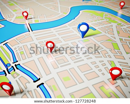 Street Map with GPS Icons. Navigation - stock photo