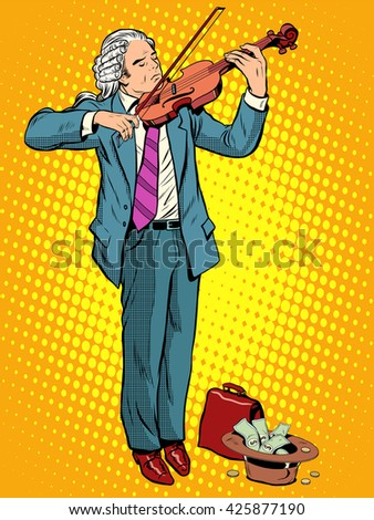 street musician violinist - stock photo
