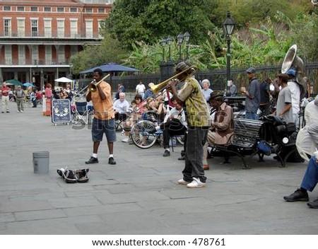 street musicians - stock photo
