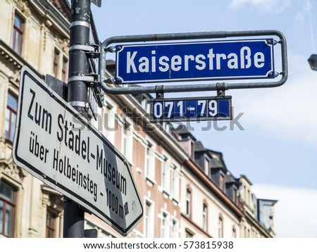 street name Kaiserstrasse, it is in the red light district in Frankfurt