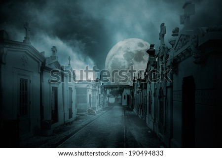 Street of an old european cemetery  in a full moon foggy night