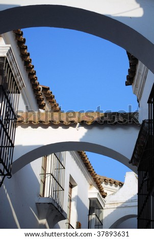 street of andalusia in architectural complex pueblo espanol in barcelona, spain