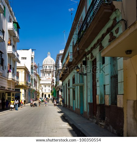 Street of Havana with the Capitol building on the background - stock photo