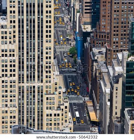 street of Manhattan in New York City - stock photo