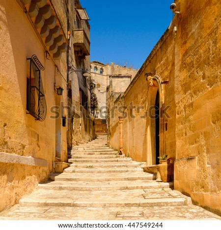 Street of Matera, Puglia, Italy. The Sassi and the Park of the Rupestrian Churches of Matera. UNESCO World Heritage site