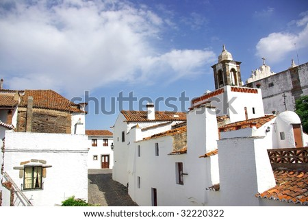 Street of Monsaraz old village at Portugal. - stock photo