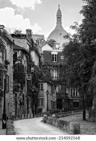 Street of Montmartre, Paris, France - stock photo