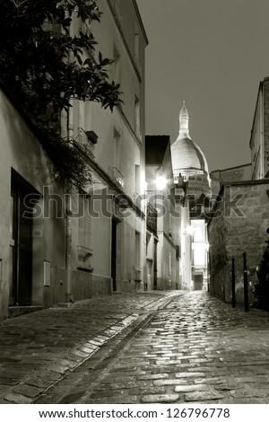 Street of Montmartre, Paris, Ile de France, France - stock photo