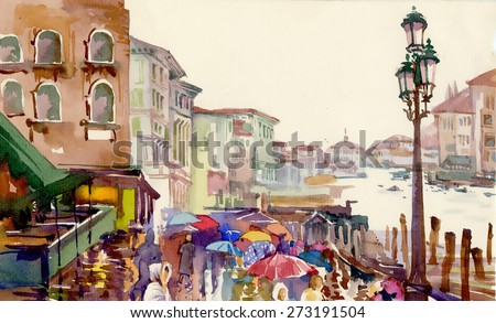 Street of Old autumn city made in watercolor style - stock photo