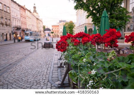 Street of old European city at early morning