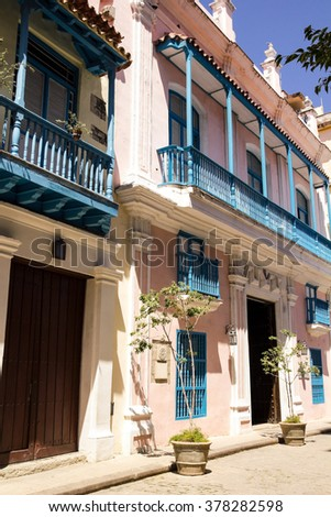 Street of Old Havana. Typical colonial Spanish architecture. Cuba - stock photo
