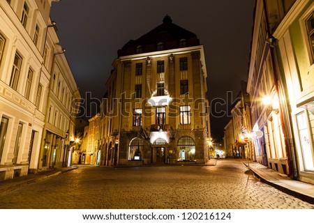 Street of Old Tallinn in the Night, Estonia - stock photo