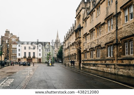 Street of Oxford a rainy day. The city is known as the home of the University of Oxford, the oldest university in the English speaking world. - stock photo