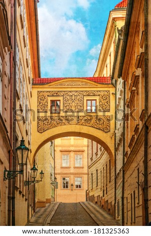Street of Prague, Czech Republic. Photo in old color image style.