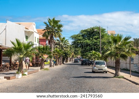 Street of Santa Maria in Sal Cape Verde - Cabo Verde - stock photo