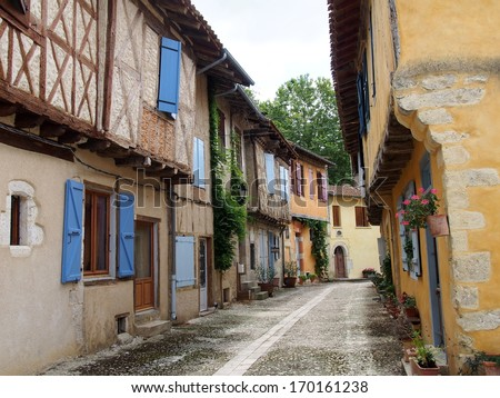 Street of Sarrant, Gers, France - stock photo