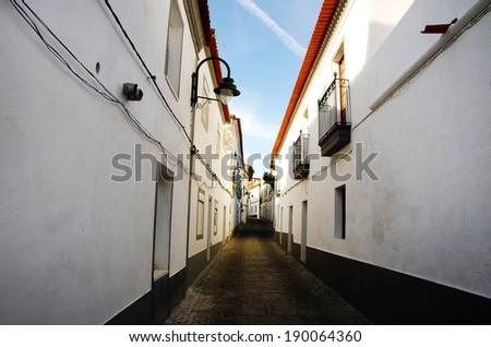 Street of Serpa village, Portugal  - stock photo