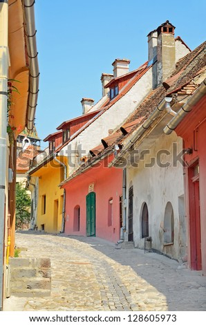 Street of Sighisoara medieval city, Transylvania, Romania