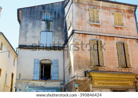 Street of small typical town in Provence, France. Beautiful village, with french cute details - stock photo