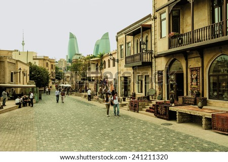Street of the historic center of the city of Baku, capital of Azerbaijan Republic July 1, 2014 - stock photo