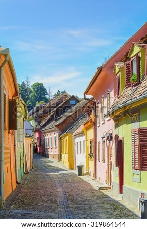 Street of the Medieval Town of Sigisoara, Romania - stock photo