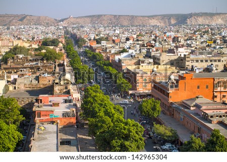 Street of the Pink City - Jaipur, Rajasthan, India - stock photo