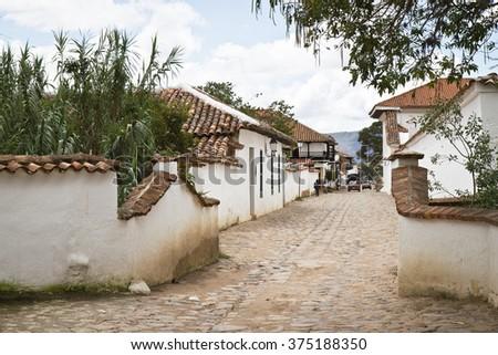 Street of Villa de Leyva, Colombia - stock photo