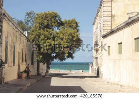 Street on Ilha de Mozambique - stock photo