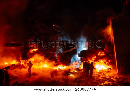 Street protests in Kiev, fire