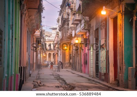 Street scene in Old Havana, Cuba.  Preparing for the tourism boom.  March 2016.