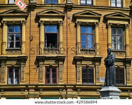 Street scene of building windows in Zagreb, Croatia