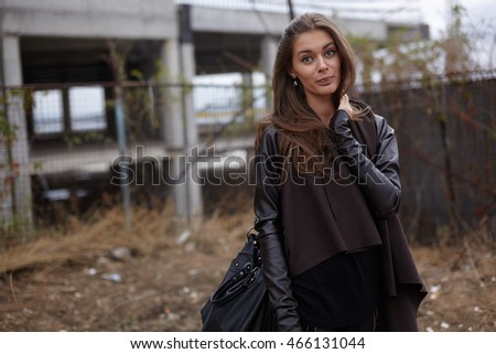 Street shots of beautiful girl, cityscapes and industrials landscapes, fashion